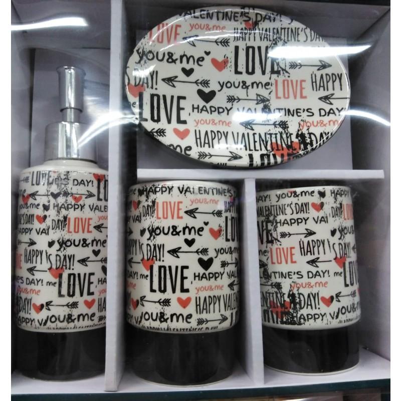 Set de baño de 4 piezas Love