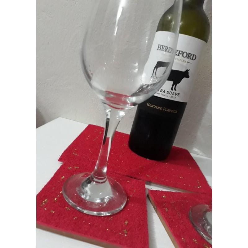 Posa vino + posa vasos motivo de Navidad